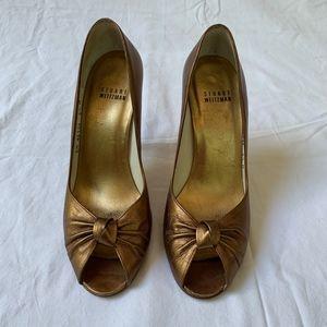 Stuart Weitzman Bronze Peep Toe Heels 6.5